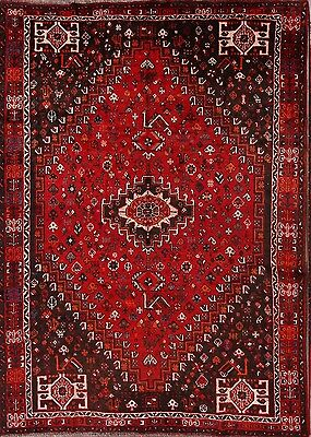 "Antique Geometric Tribal Red 7x10 Shiraz Persian Oriental Area Rug 9' 8"" x 7' 0"""