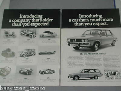1972 Renault 2-page ad Renault 12 with 1898-1971 models