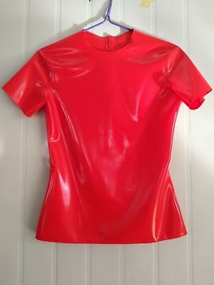 Latex Rubber Tight casual Short-sleeved collar Top Suit Size XXS-XXL