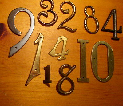 Lot of 11 Vintage Brass House Numbers Victorian House Hardware