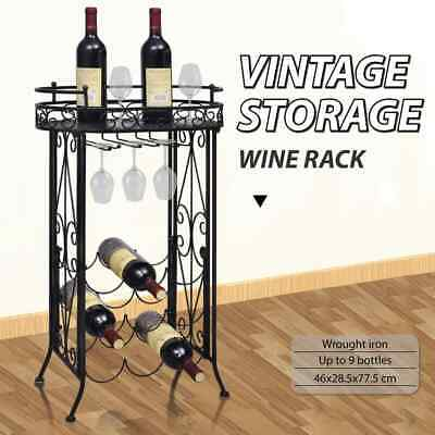 vidaXL Wine Rack with Glass Holder for 9 Bottles Metal Cup Storage Cabinet