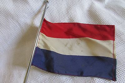 Unusual Vintage French Embassy Desk Top Dutch Flag Tricolor On Marble Base 12""