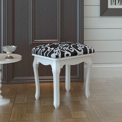 New Dressing Table Stool Black Wooden Padded Chair Bedroom Footstool Piano Seat