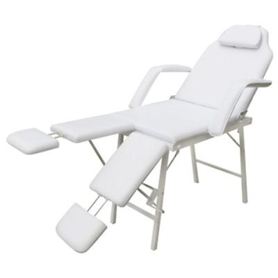 Massage Table 3 Fold Aluminium Chair Bed Portable Beauty Therapy Treatment White