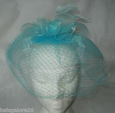 Lilac Fascinator 1940's Style  Mesh Covers Face Turquoise Fascinator