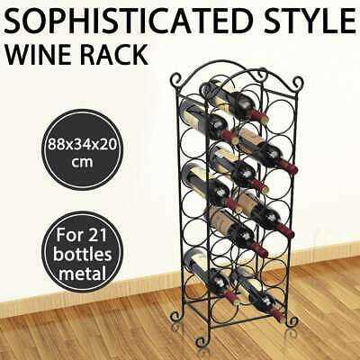 vidaXL Wine Rack for 21 Bottles Metal Home Bar Cabinet Storage Organiser