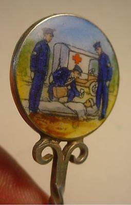 1931 English Silver Spoon with Guilloche Enamel Picture of Red Cross Ambulance