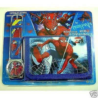 Spider-Man Spiderman Faux Leather Quartz Watch And Wallet Set Party Bag Item i70