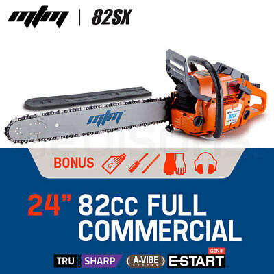 "NEW MTM 82cc Commercial Petrol Chainsaw 24"" E-Start Bar Tree Pruning Chain Saw"