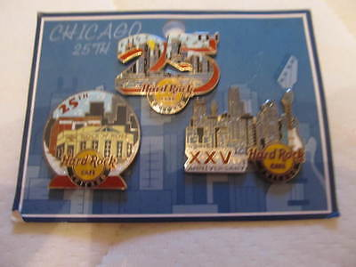 Hard Rock Cafe HRC Chicago - 25th Anniversary 3-Pin-Set