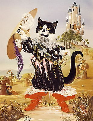 Old Vintage ANNE GRAHAME JOHNSTONE Art Print Child Fairy Tale PUSS IN BOOTS Cat