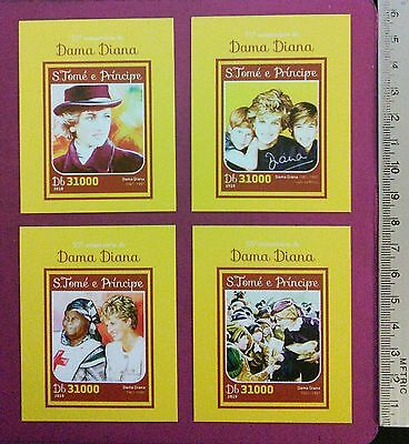 S.Tome E Principe the Princess of Wales Diana Royal Memorial 4 Stamps Set MNH