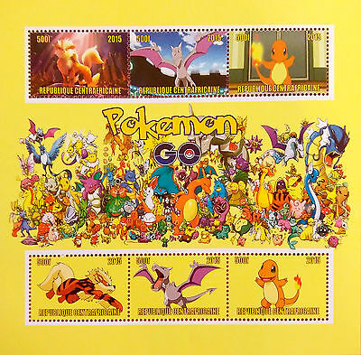 POKEMON Go 2015 new Stamps 6 Value PERFORATED Sheetlet MINT+Excellent NH UKpost