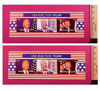 USA 45th President Donald Trump 2016 Election stamps 3 value Sheetlet NEW MNH