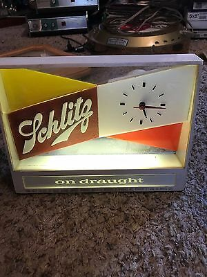 1955 Schlitz Beer Clock Adv. Bar Sign LIGHTS UP Beer that made Milwaukee Famous