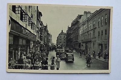 Vintage Printed Postcard - Cornmarket Looking Towards Carfax, Oxford - Unposted
