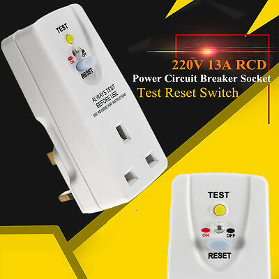 220V 13A RCD Power Circuit Breaker Socket Safety Plug-In Test Reset Switch Plug