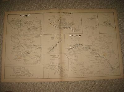 Antique 1892 Epsom Loudon Warner Bradford Short Falls New Hampshire Map Rare Nr
