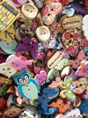 Card Making Clearout 100x Random Wooden Button Embellishments/toppers Lucky Dip