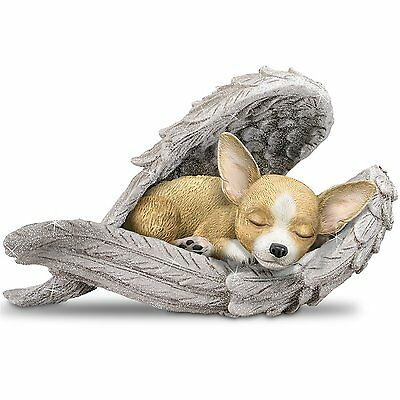 Chihuahua Statue Wrapped in the Loving wings of Angel Sculpture Figurine NEW