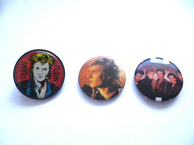 Rare Vintage 1980's Duran Duran Hologram Back Plastic Pin Badge + Two metal