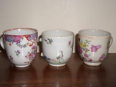 A Lot Of 3 Chinese Porcelain Famille Rose Coffee Cups, All 18Th C, All Damaged