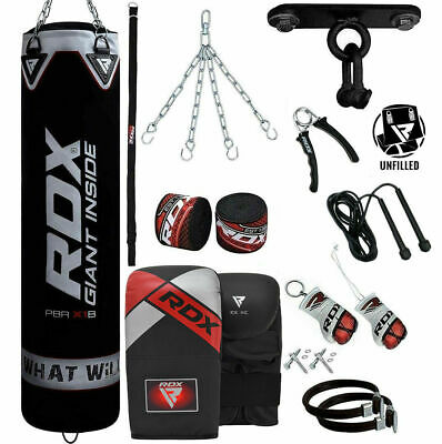 RDX UnFilled 13PC Punching Bag Boxing Set Heavy Gloves Ceiling Hook MMA Chain CA