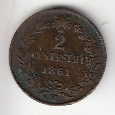 Italy 2 Cents 1861M Copper       241D              By Coinmountain