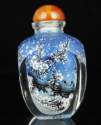 China Collectible Handwork Built-In Painting Glass Snuff Bottle