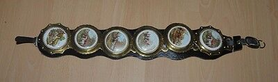 Vintage Martingale With Six Brass & Porcelain Hunting Scene Horse Brasses