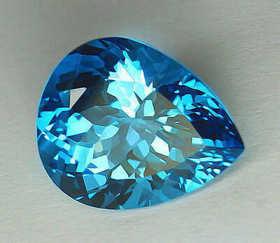 36.12Ct Huge Certified Natural Portuguese Pear Cut Aaa Vivid Electric Blue Topaz