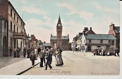 1905 ANNAN High Street - Town Hall, buildings inc. shops, market stall, people