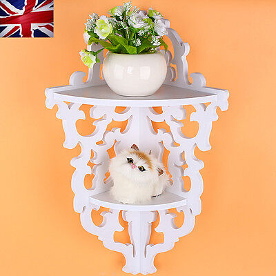 Elegant Hot Shabby Chic Filigree Wall Corner 2 Shelf Bookcase Display Storage UK