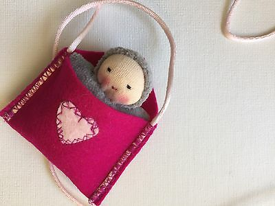 Small handmade Waldorf cloth doll, love letter necklace