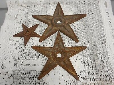 3 Vintage Cast Iron Star Building Anchor Hurricane Star Architectural Salvage