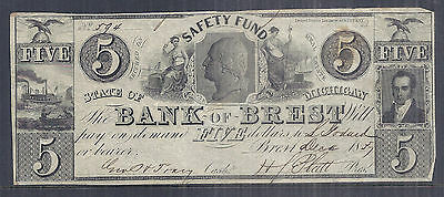 1837 US Obsolete Currency - Safety Fund, Bank of Brest, MI $5 - Circulated*