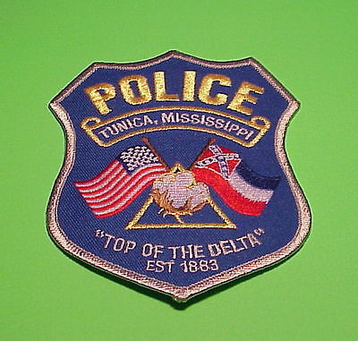Tunica  Mississippi  ( Dark  Blue Background )  ( Flags )  Ms  Police Patch