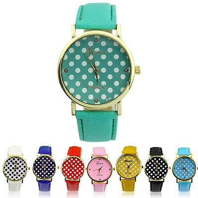 Women Geneva Small Polka Dot Dial Faux Leather Band Quartz Wrist Watch Fashion