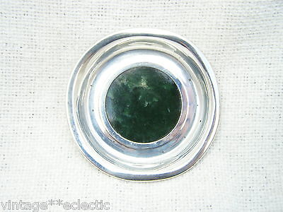 LONDON STERLING SILVER 1905 PIN TRAY DISH COASTER with GREEN POLISHED STONE