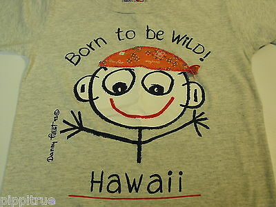 1993 Danny First t-shirt Born to be Wild! Hawaii. Grey, Red bandanna 100% cotton