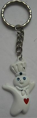 Vintage Pillsbury Doughboy Key Ring Red Heart Keychain Poppin Fresh Made in USA