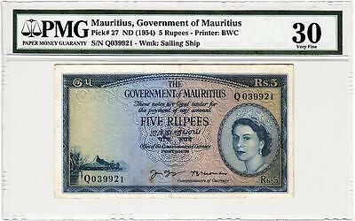 Mauritius,government Of Mauritius 5 Rupees Nd 1954 Pmg 30 Very Fine P 27
