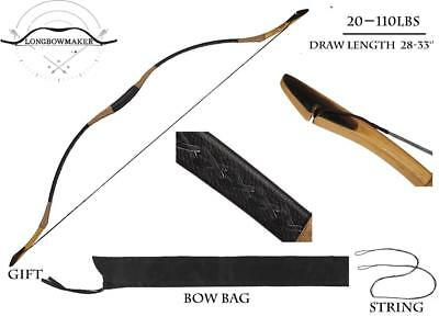 20-110# Ali Bow Handmade Hungarian Ox horn Longbow Archery Hunting Recurve Bow