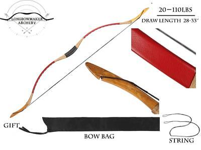 20-110lbs Ali Bow Handmade Hungarian Red Longbow Archery Hunting Recurve Bow