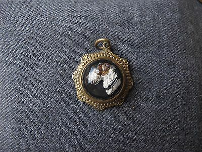 Vintage Intaglio Essex Crystal Scottie Dog Head Cabochon Golden Metal Pendant