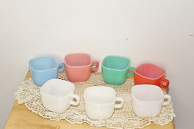 Vintage Set of 7 Glassbake Glass Square Cups Mugs Assorted Colors Excellent