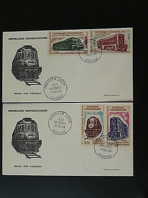 railroads trains Decaris x2 FDC Central African Republic 74022