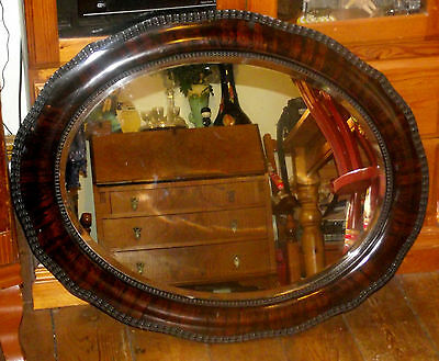 Antique Edwardian Tiger Stripe Flame Wooden Scalloped Overmantle Wall Mirror