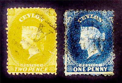 nystamps British Ceylon Stamp # 46d 49f Used $46