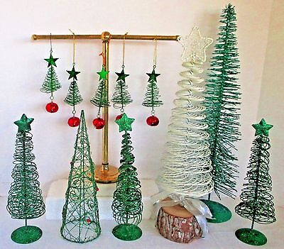 """Wire & Bottle Brush Christmas Trees 11 pieces 18"""" Tallest"""